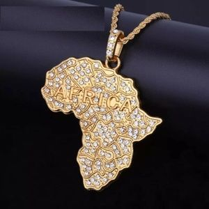 "Other - 14k Gold Africa Pendant 28"" Rope Chain Necklace"